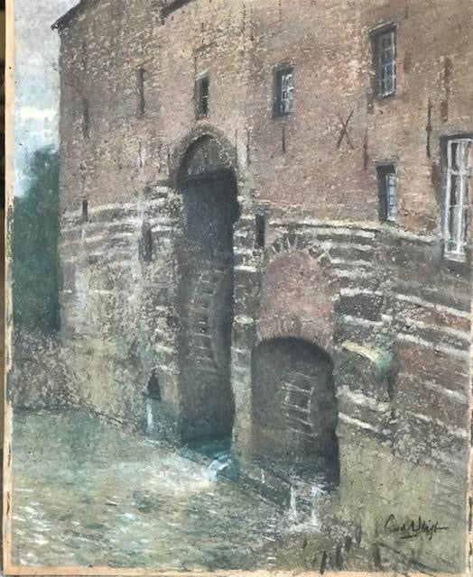 c19th pastel of a mill in ornate gilt frame.