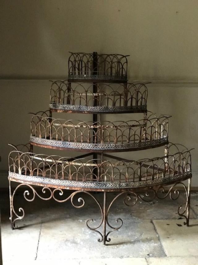 Victorian iron & wire work plant rack