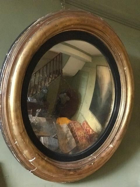 English Regency gilt convex mirror