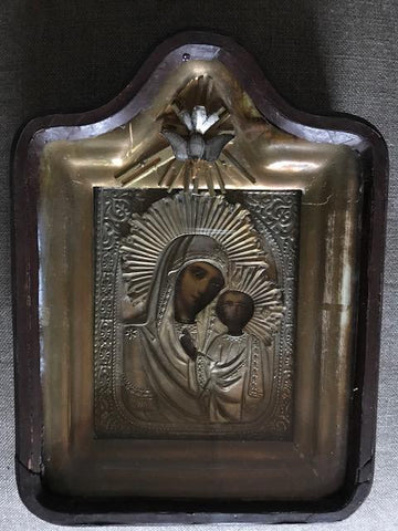 Wooden cased silver Greek Icon