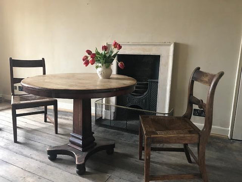 William 1V hall table. Pair rush seated chairs .