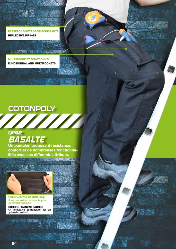Pantalon Basalte Extensible Multi-poches
