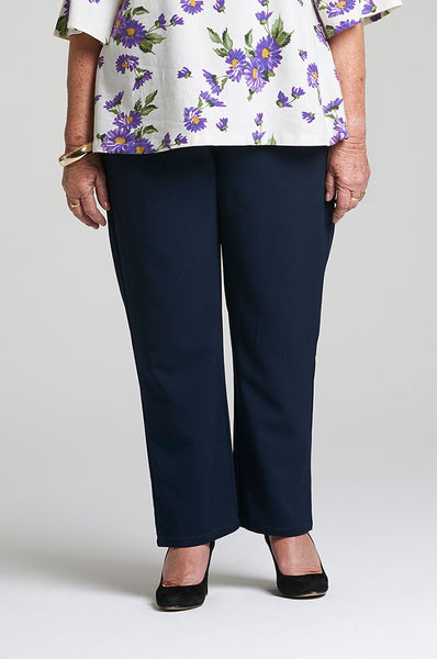 Anna - Navy Elastic Waist Pants for Seniors