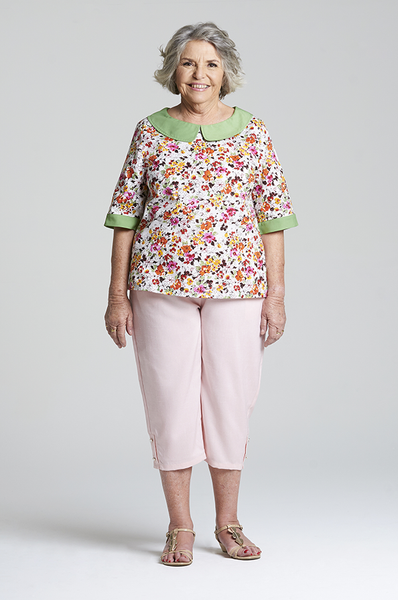 Sarah - Pink Elastic Waist Pants for Elderly