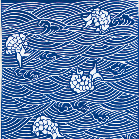 Tenugui Rough Rocky Beach (Indigo)