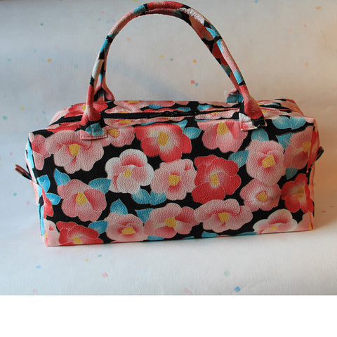 Boston Handbag (Camellia Black & Pink)