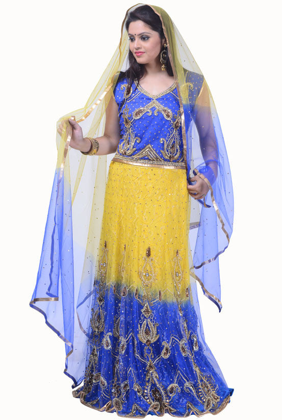 Royal Blue and Maize Yellow Lehenga Choli