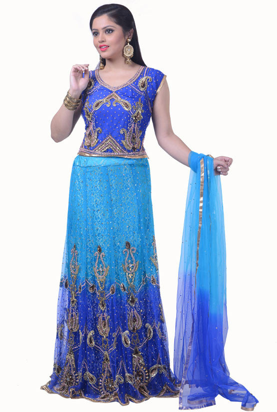 Royal Blue and Deep Sky Blue Lehenga Choli