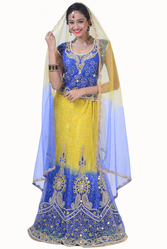 Denim Blue and Maize Yellow Lehenga Choli