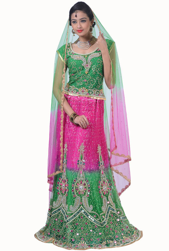 Hot Pink and Emerald Green Lehenga Choli