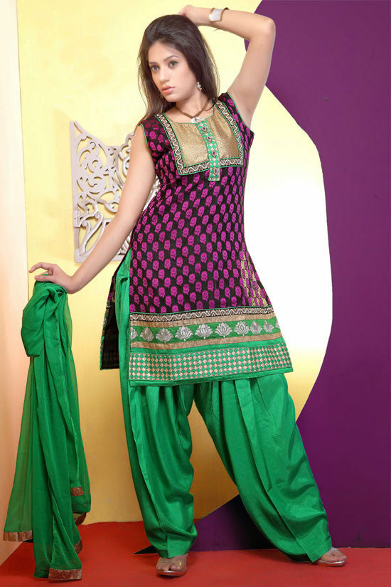 Brilliant Black Readymade Patiala Suit