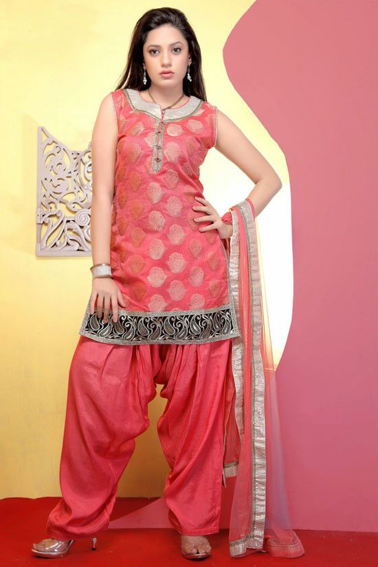 Attractive Coral Pink Patiala Kameez Set