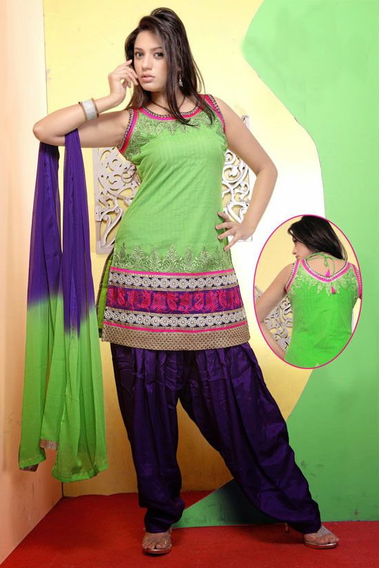 Appealing Apple Green Patiala Kameez Set