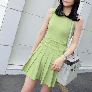 Petra Knitted Sleeveless Dress - Light Green