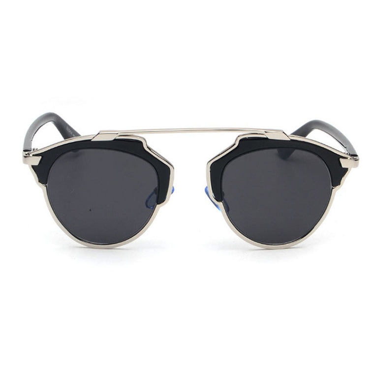 Beryl Sunglasses - Silver Frame with Black Lens