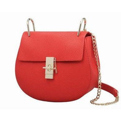 Briony Metal Lock Shoulder Bag - Red