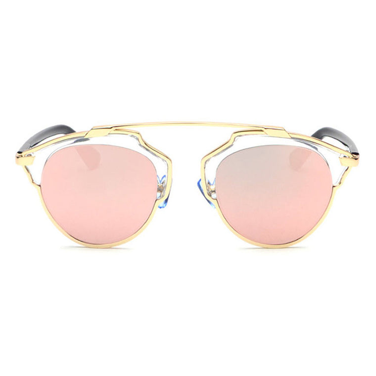 Beryl Sunglasses - Gold Frame with Pink Lens