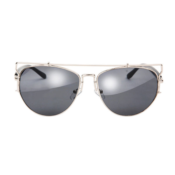 Mason Reflective Mirror Sunglasses - Silver Frame with Black Lens