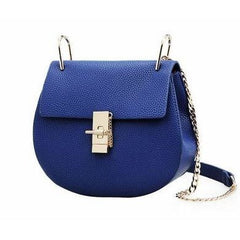Briony Metal Lock Shoulder Bag - Blue
