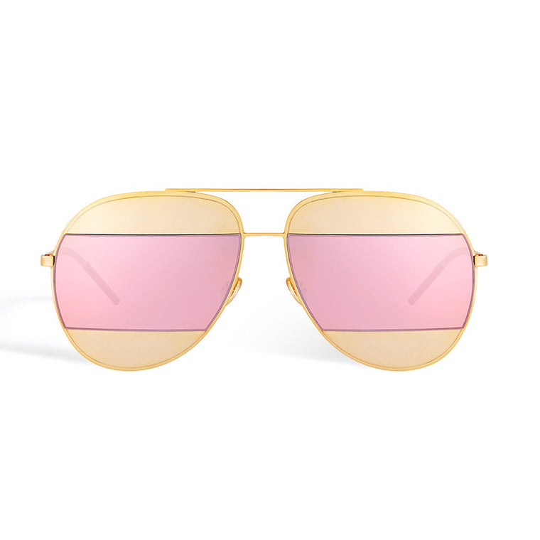 Ada Split Sunglasses - Gold with Pink Mirror Lens
