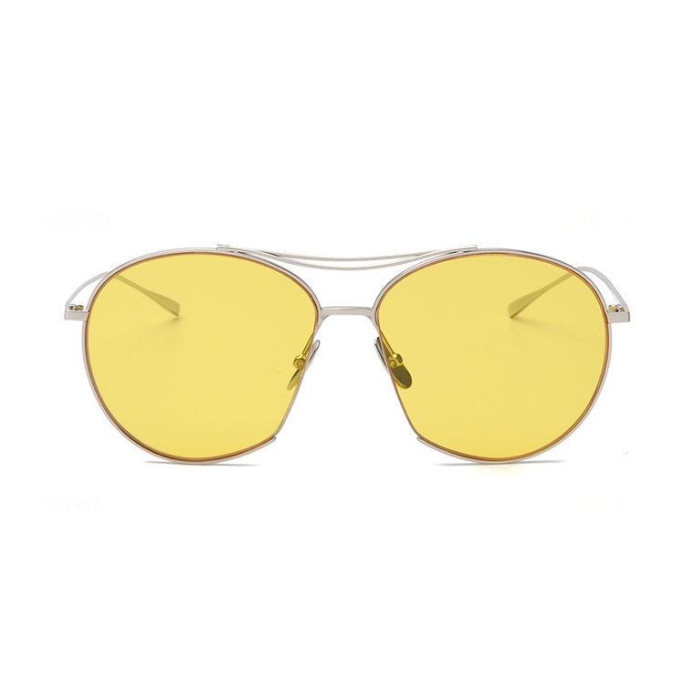 Berlin Sunglasses - Silver Frame with Yellow Lens