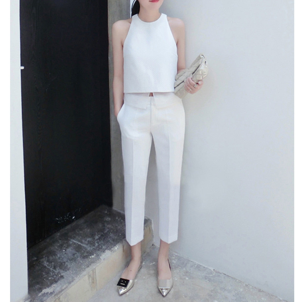 Eve Cropped Cigarette Pants - White