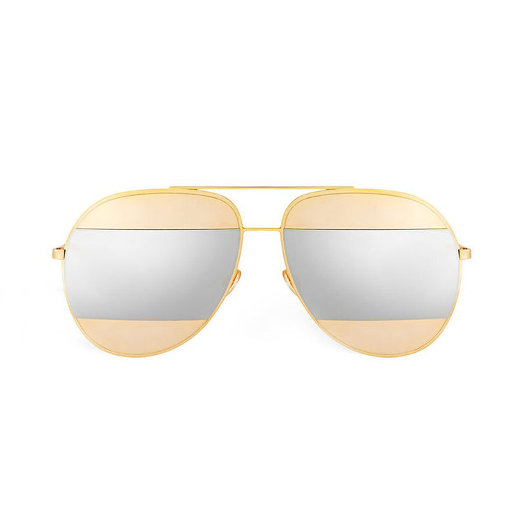 Ada Split Sunglasses - Gold with Silver Mirror Lens