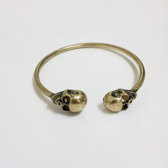 Twin Skull Bracelet-Antique Gold