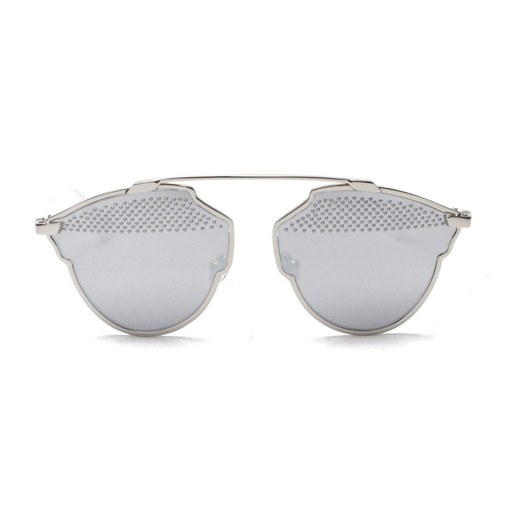 Grace Mirror Sunglasses - Silver Frame with Silver Lens