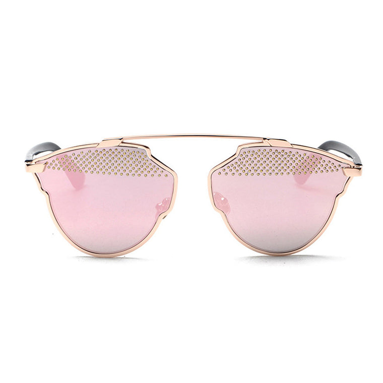 Grace Mirror Sunglasses - Gold Frame with Pink Lens