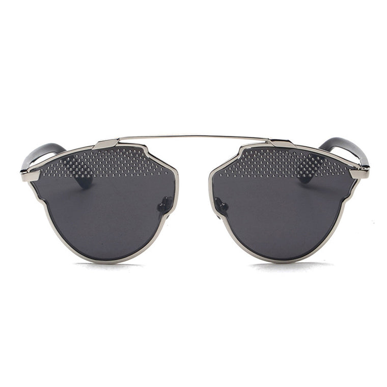 Grace Mirror Sunglasses - Silver Frame with Black Lens