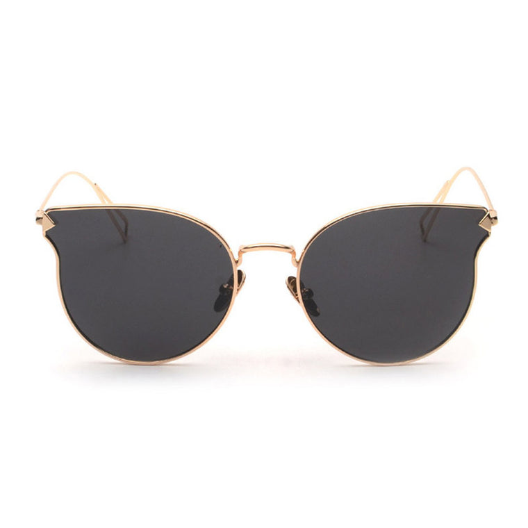 Quinn Cat Eye Mirror Lens - Gold Frame Black Lens