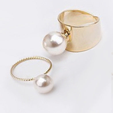 Pearl Ring Set - Gold