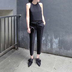 Eve Cropped Cigarette Pants - Black