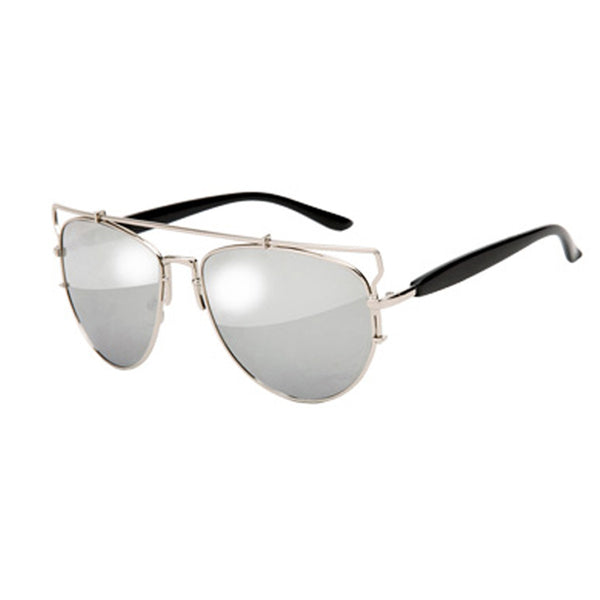 Mason Reflective Mirror Sunglasses - Silver Frame with Silver Lens