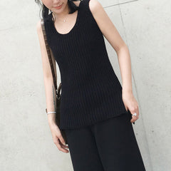 Francine Knitted Sleeveless Top - Black
