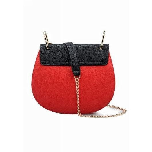 Briony Metal Lock Shoulder Bag - Red and Black