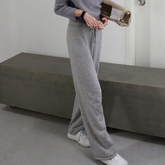 Zuri Relaxed Knitted Wide Leg Pants - Grey