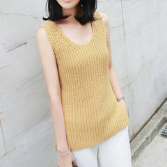 Francine Knitted Sleeveless Top - Yellow