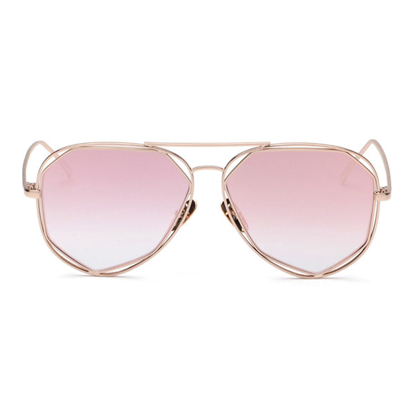 Lola Sunglasses - Gold Frame with Pink Lens
