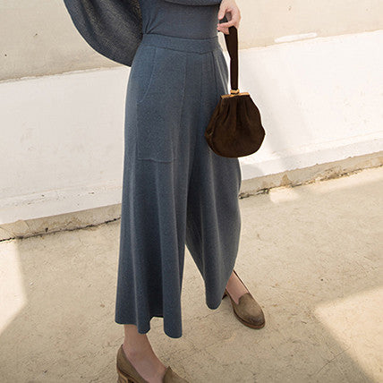 Gladys Knitted Culottes - Blue