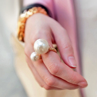 Double Pearl End Ring - Ivory