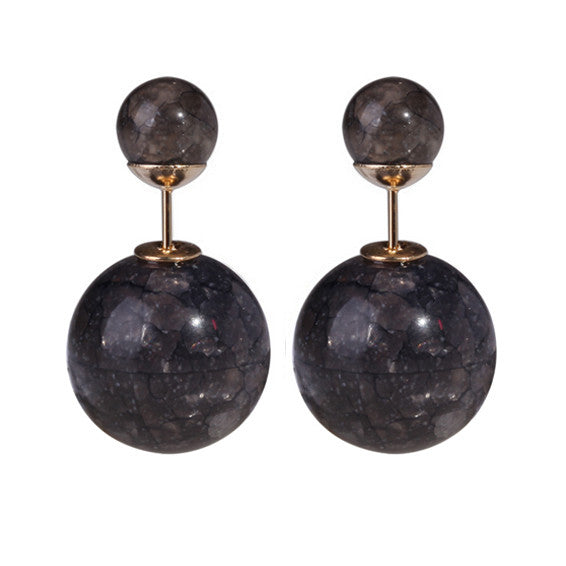 Michelle Double Pearl Earrings - Black Marble