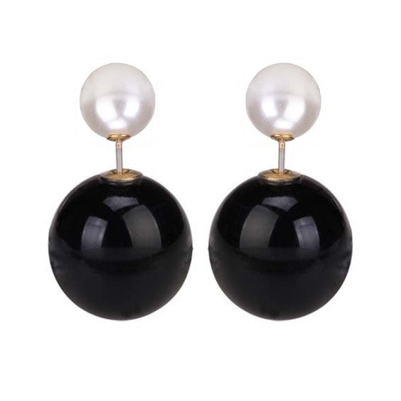 Michelle Double Pearl Earrings - Glossy Monotone