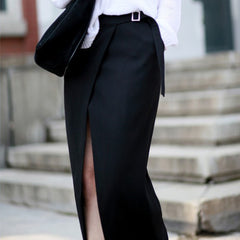 Hailey Cambric Split Maxi Skirt-Black