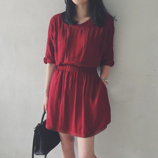 Joelle Stretchable Waist Dress - Red