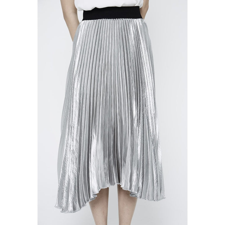 Olivia Pleated Skirt - Silver