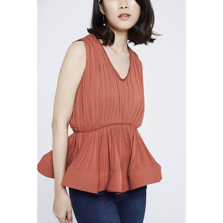 Dora Peplum Top - Red