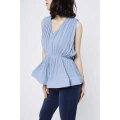 Dora Peplum Top - Blue