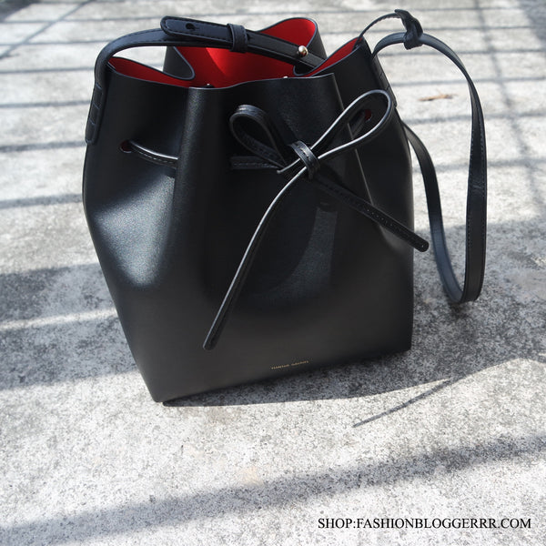 Inspired Mansur Gavriel Bucket Bag - Black